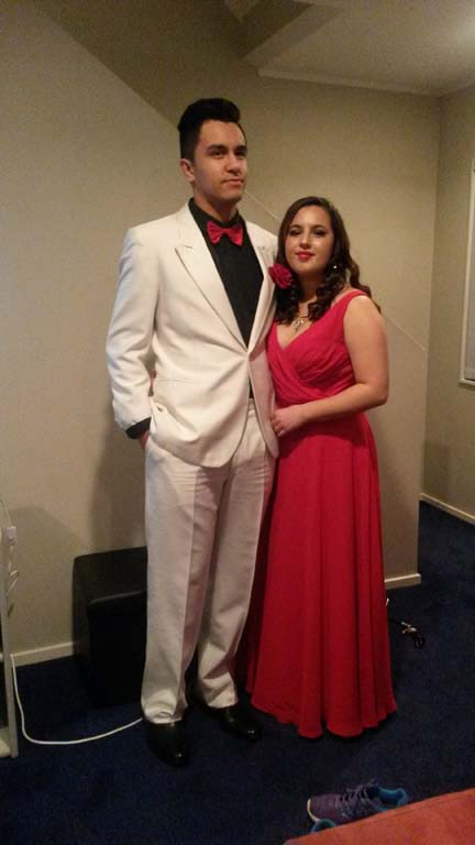 Sheree in red ball gown with date - Testimonial