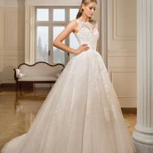 Cosmobella Bridal - Wedding Dress CM7915 with Ballgown silhouette and Bateau neckline in Ivory with Chapel train