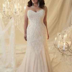 Callista Bridal - Veronica, wedding gown with trumpet silhouette and sweetheart neckline in vintage rose and silver with Chapel train