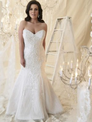 Callista Bridal - Wedding dress da Vinci with ballgown silhouette, strapless sweetheart neckline, lace up back and sweep train in ivory/silver