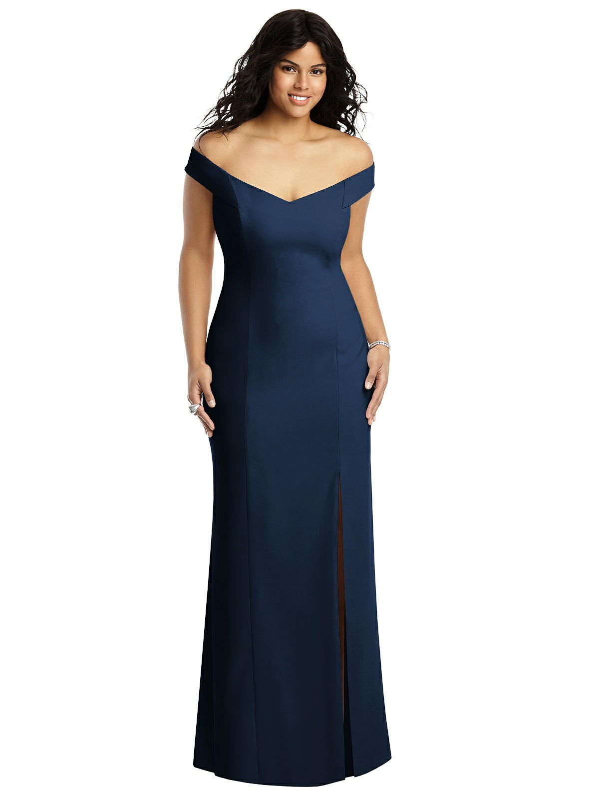 Floor length, fit and flare, off-shoulder bridesmaid gown. Featuring a front split and criss-cross back. Shown in Colour Midnight.