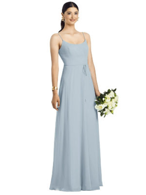 Gorgeous gown style 1525 suitable for bridesmaids with saft A-line silhouette and scoop in Morning Sky Blue