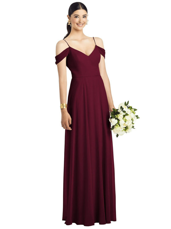 Beautiful gown style 1526 suitable for bridesmaids with soft A-line silhouette and V-neck with cold should detail in Cabernet