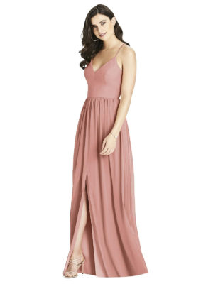 Beautiful gown style 3019 suitable for bridesmaids with soft A-line silhouette, V-neckline and backless with criss-cross spaghetti straps in Desert Rose