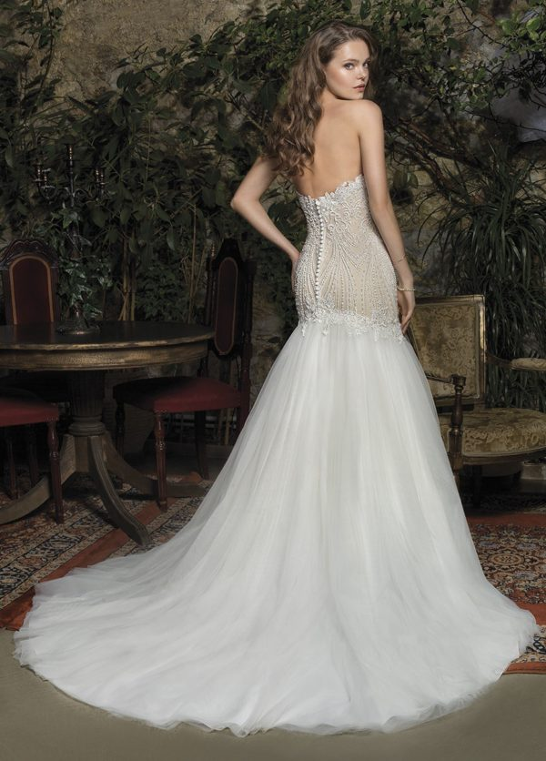 Cosmobella Bridal - Wedding Dress CM7955 back with mermaid silhouette and sweetheart neckline in ivory with cathedral train