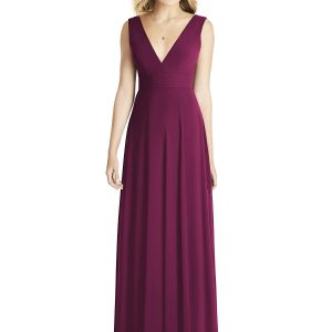 Beautiful gown style 8185 suitable for bridesmaid with A-line silhouette and V-neckline in Ruby