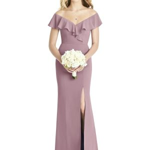 Beautiful gown style 8190 suitable for bridesmaids with Trumpet silhouette and off-shoulder neckline in Dusty Rose