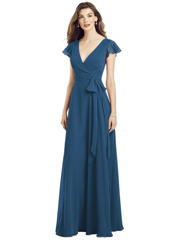 Beautiful gown style 6817 suitable for bridesmaids with A-line silhouette and faux wrap V-neckline in dusk blue