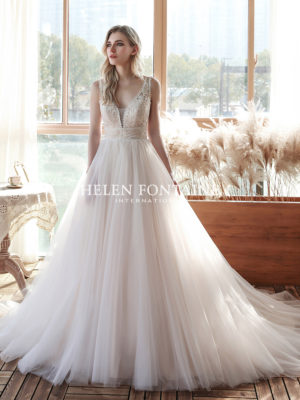 Helen Fontaine Bridal - Wedding Dress HFW4190 with ballgown silhouette and plunging V-neckline in Ivory/blush