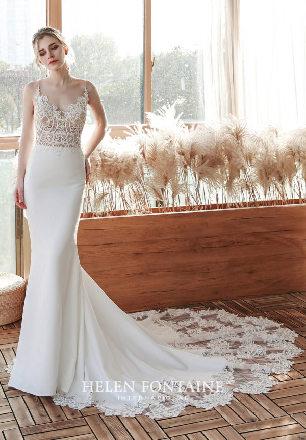 Helen Fontaine Bridal - Wedding Dress HFW4222 with Fit n Flare silhouette, V-neck neckline, straight across illusion back and chapel train.