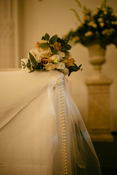 Bouquet placed on corner of table
