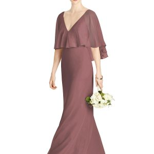 Beautiful gown style 4568 suitable for bridesmaids or Mother of the Bride/Groom with trumpet silhouette and V-neckline in English Rose