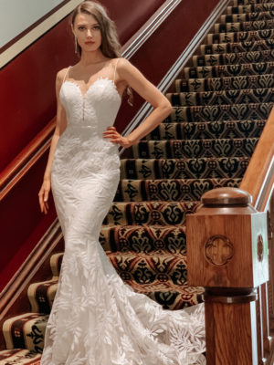 Tina Holly Bridal - Wedding Gown TA107A with trumpet silhouette and plunging sweetheart neckline in off white