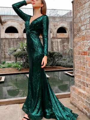 Ballgown in style TA803 with fit n flare silhouette, v-neck and sequin fabric in emerald