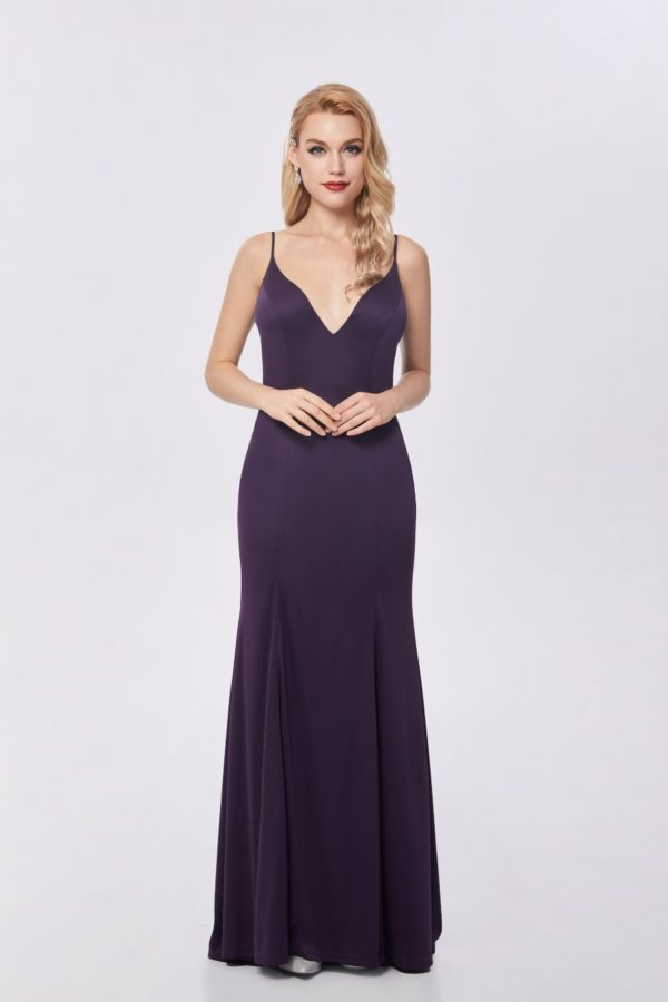 Ballgown style CB603 fit n flare silhouette and plunging v-neckline