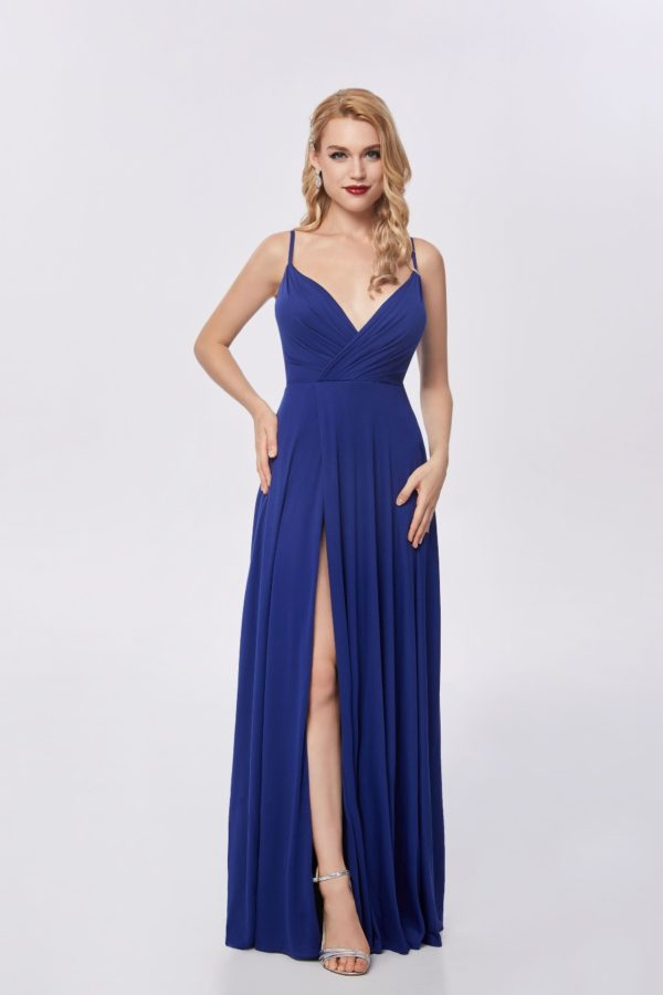 Ballgown style CP601 Soft a-line silhouette, v-neckline and high split in skirt