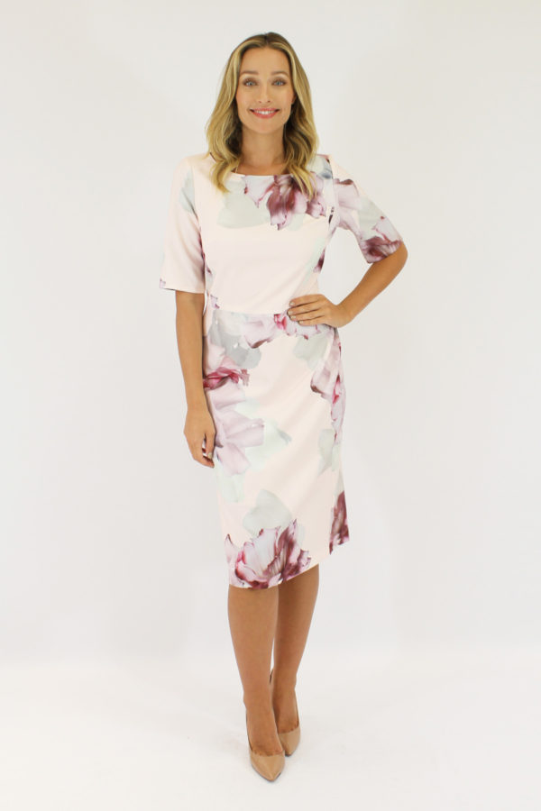 Beautiful dress style J159D suitable for mothers of the bride/groom - A shift dress with 3/4 sleeves in fabric with Large floral print on a light pink background