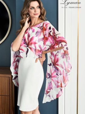 Beautiful gown style FL198187 suitable for mothers of the bride/groom - Ivory stretch shift dress with Pink floral chiffon overlay.