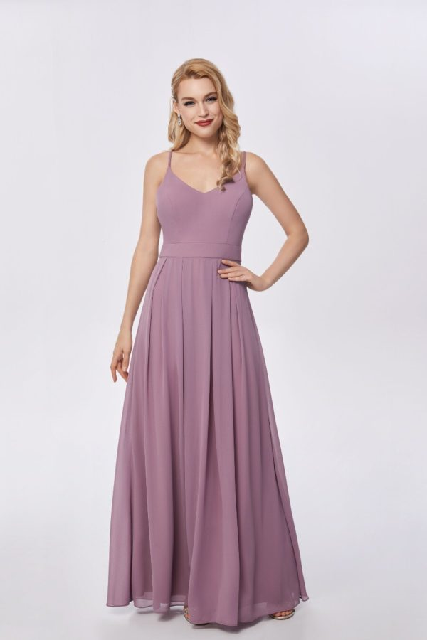 Beautiful gown style CB617 suitable for bridesmaids with soft A-line silhouette, V-neck with low back and crisscross spaghetti straps.