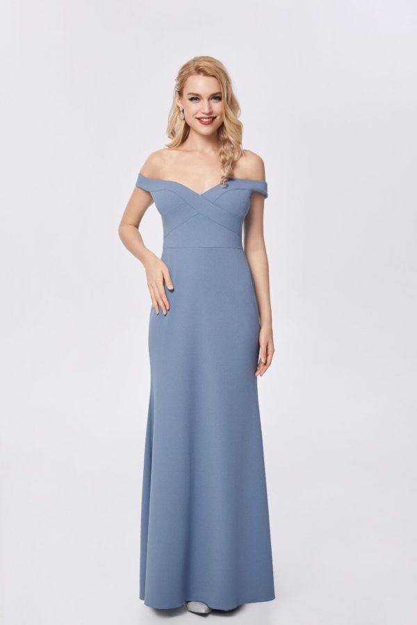 Ballgown style MB1484 Fit and flare gown with an off shoulder neckline